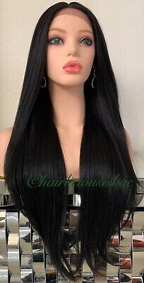 long black lace front wig Straight 28 Inch Long Heat Resistance Ok