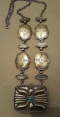 Vintage ESTEE LAUDER Perfume Necklace Silver Southwest Style Solid Perfume