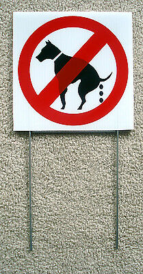 "(8) No Dog Poop 8""x 8"" Plastic Coroplast Signs With Stakes (8 Signs)"
