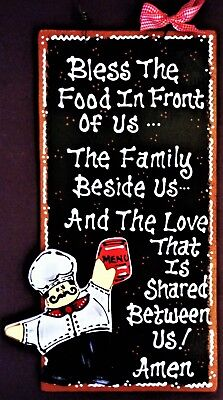 FAT CHEF Kitchen BLESSING PRAYER SIGN Wall Art Hanger Plaque Bistro Cucina Decor