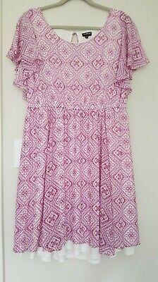TORRID Size 1 Rasberry Pink Floral Chiffon Blouson Dress Bell Sleeve -