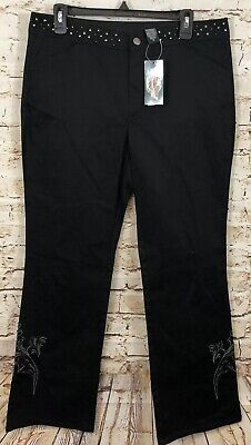 Harley Davidson black studded pants womens 12 embroidery bling NEW boot cut L1