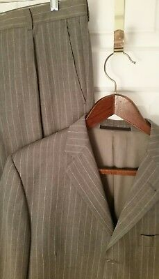 "Burberry London Men Bond Street Wool Suit 3 Button Gray Blue Strip 42R x 36""W"