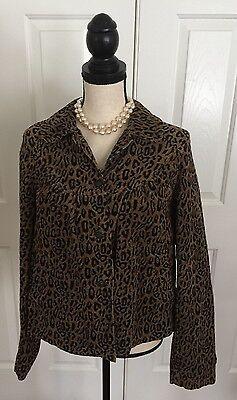 KIKIT JEANS Corduroy Jacket Leopard Print Women's Size Medium Rosette Buttons Leopard Rosette