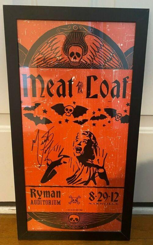 MEAT LOAF SIGNED/FRAMED 2012 HATCH SHOW CONCERT PRINT POSTER NASHVILLE/RYMAN!