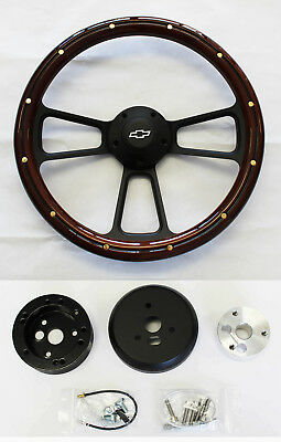 "Nova Chevelle El Camino Steering Wheel Mahogany Wood & Black Spokes 14"" Bowtie"