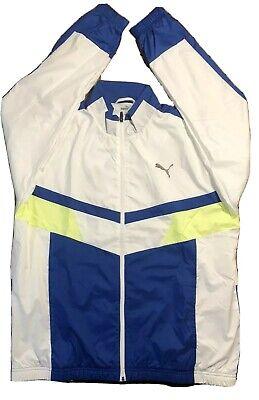 Puma Men Size L Windbreaker Jacket Blue White Yellow