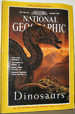 National Geographic Jan 1993 Dinosaurs Wyoming Power Of Money Colca Canyon Money