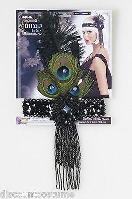 BLACK SEQUIN BEAD FLAPPER HEADBAND w/PEACOCK FEATHER HALLOWEEN COSTUME ACCESSORY - Black Peacock Halloween Costumes