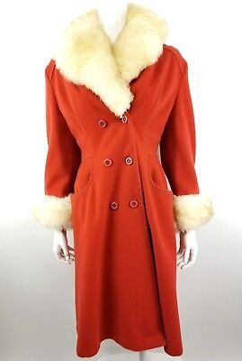 VINTAGE SEARS FASHIONS ORANGE COAT WITH FAUX FUR COLLAR & CUFFS ~ 60s-70s