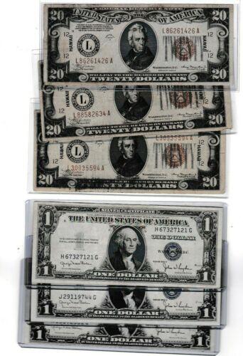 1934 $20 Hawaii & 1935D $1 silver certificate, lot of 1 each