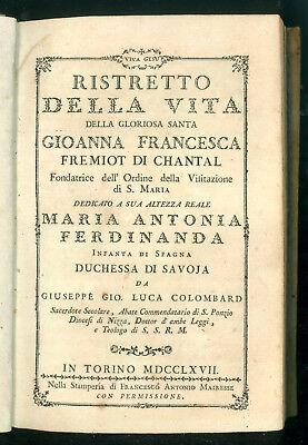COLOMBARD RISTRETTO VITA SANTA GIOANNA FRANCESCA FREMIOT CHANTAL MAIRESSE 1767