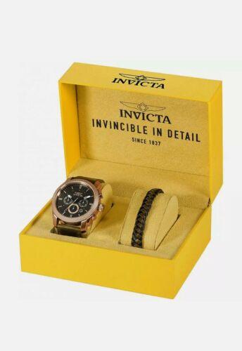 Invicta Men's Watch Aviator Chronograph Black Dial Brown Lea