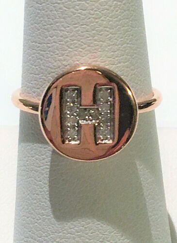 """NWT GENUINE DIAMOND INITIAL """"H"""" RING SIZE 7 (0.07 CTW) 14K RG OVER 925 SS"""