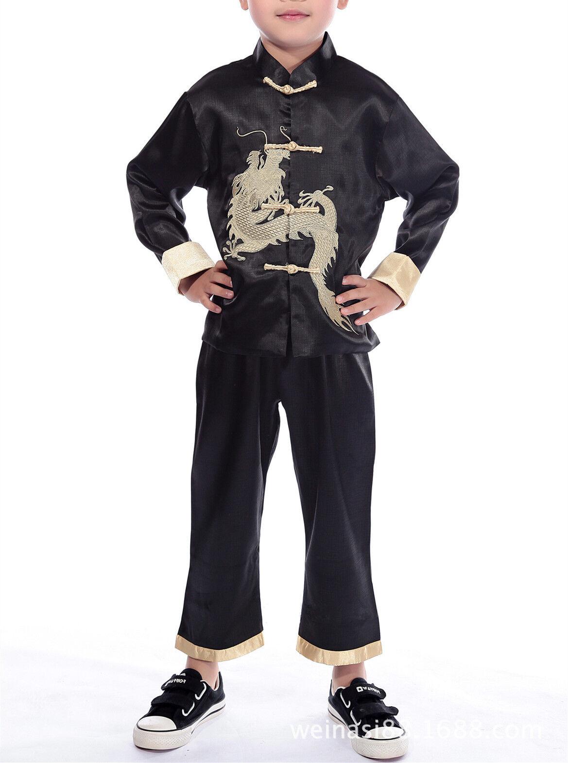 ee7e6a879c Nuevo chino Oriental para niños chicos oro Dragon Top Troushers Set pijama  chboy3