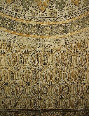 "Veggie Dye Block Print Curtain Drape Panel Cotton 46"" x 84"" Olive Green"