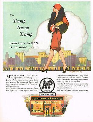 1920s Vintage A&P Store Flapper Woman Fashion Bradshaw Crandell Art Print Ad