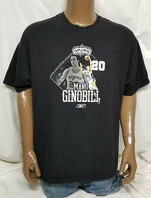 SAN ANTONIO SPURS NBA BASKETBALL / MANU GINOBILI 20 REEBOK T-SHIRT BLACK 2XL