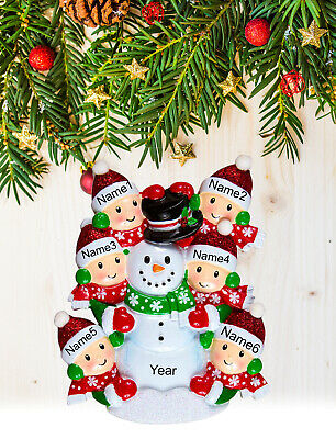 Personalized Christmas Tree Ornament Holiday Gift, Snowman Family of 2-3-4-5-6 Personalized Snowman Ornament