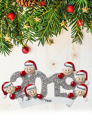 Personalized Christmas Tree Ornament Gift, Year 2019 for Family of 2-3-4-5-6 ()