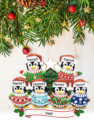 Personalized Christmas Tree Ornament Holiday Gift, Penguins Family of 2-3-4-5-6 ()