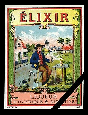 Vintage French Alcohol Label: Old Liquor Elixir Liqueur No. 801
