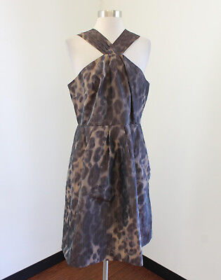 Banana Republic Brown Ombre Cheetah Print Cocktail Evening Dress Size 14 Party