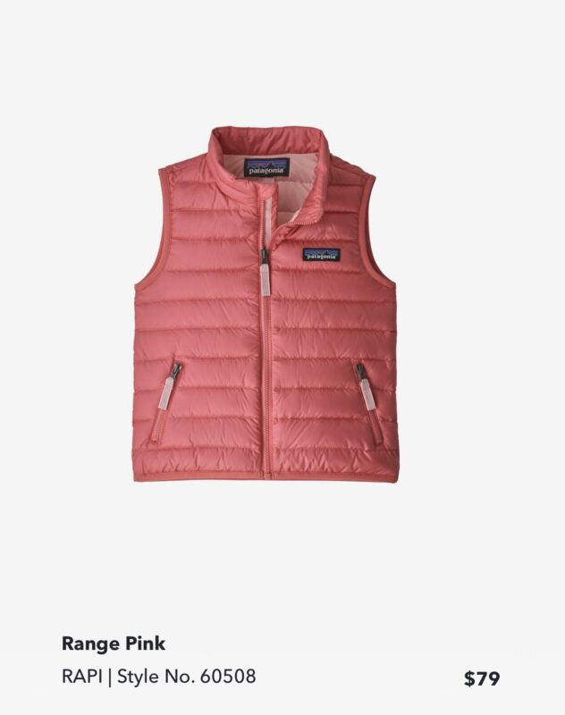 Patagonia Down Puffer Vest Pink 4T