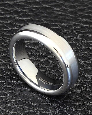 6mm Tungsten Carbide Silver Wedding Band Mens Women Brushed Comfort Fit Ring