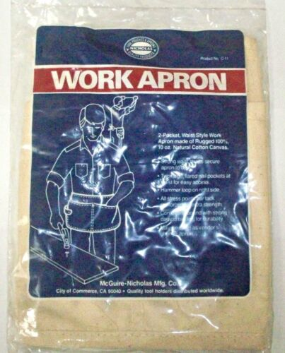 Carpenter 2 Pocket Waist Canvas Nail Holder Apron with Hammer Loop