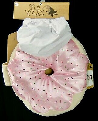 Dog Chef Hat (Large Dog Donut Baker Pink Donut and Chef Hat Witch Crafters Halloween Costume)