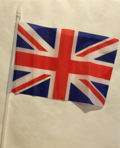 "British Union Jack Stick Flag Great Britain 5 x 8"" Handheld Mini Small 12"" Set 3"