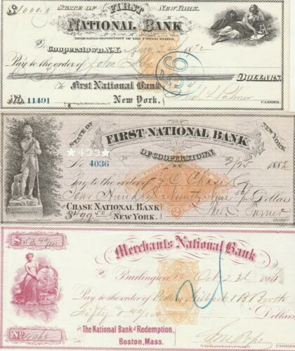 THREE (3) VERY OLD CHECKS     1866, 1871 7 1882   REVENUE STAMPS  VIGNETTES  (A)