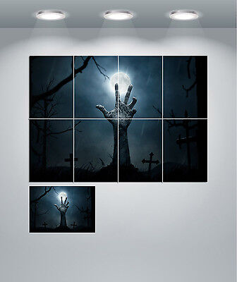 Zombie Graveyard Scary Halloween Giant Wall Art Poster Print