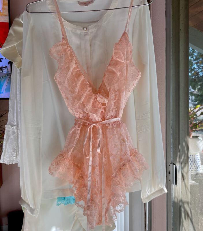 Vintage Victorias Secret Peach Pastel Pink Sheer Lace Lingerie Teddie Bodysuit P