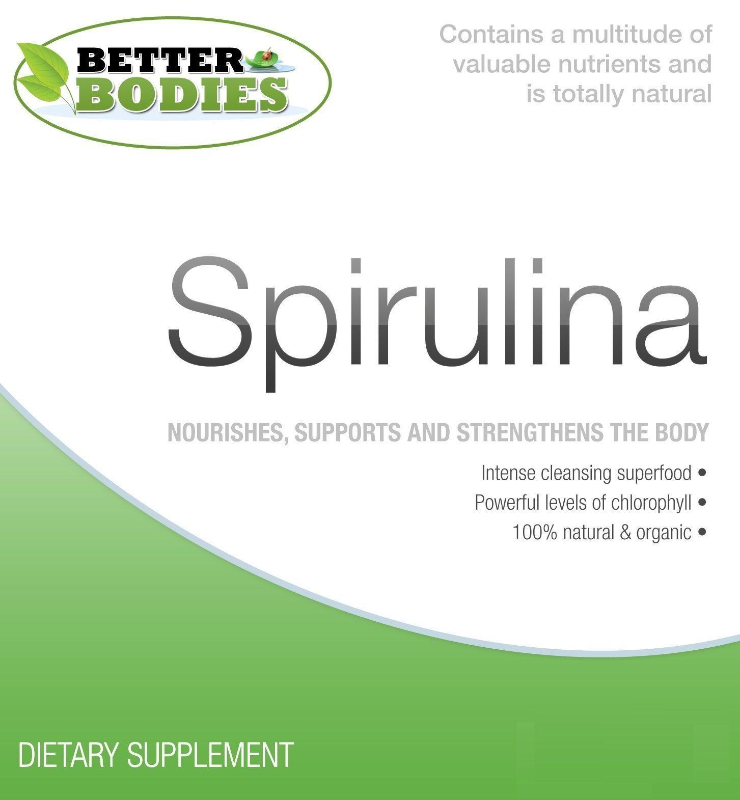 Organico Spirulina Compresse Certificato UK Super Verdi Di Alimenti 500mg