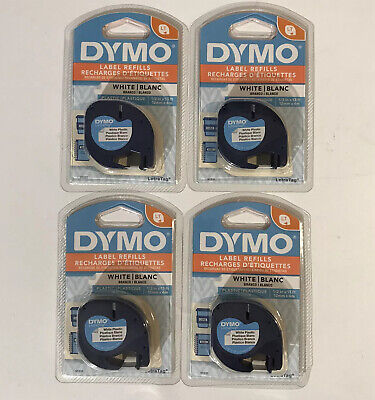 Lot Of 4 Dymo Letratag Labeling Tape White Plastic Tape 12 Wide 13 Feet Long