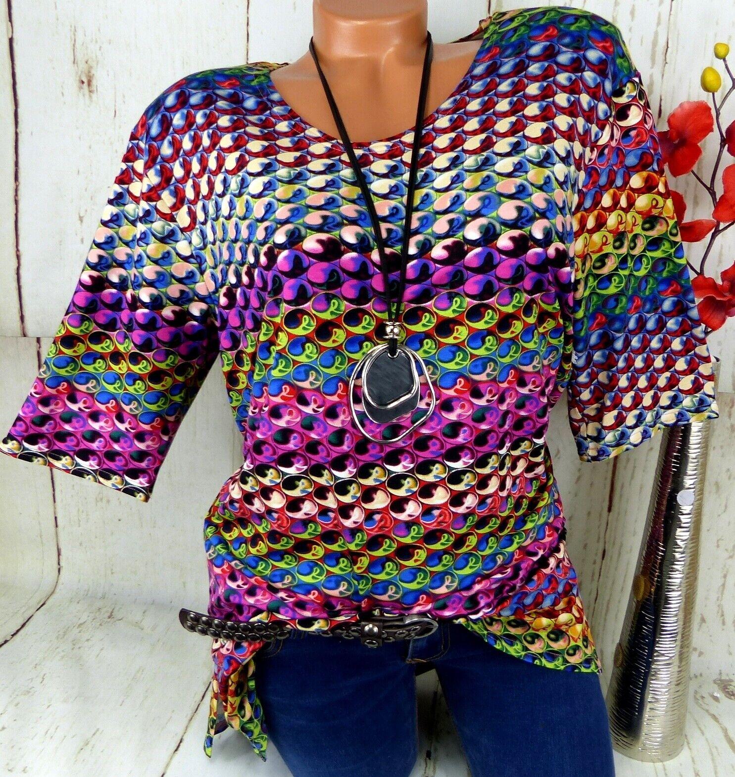 New Jersey Shirt Tunika Bluse Lagenlook Schlitze Top T Shirt Bunt 3. 46 48