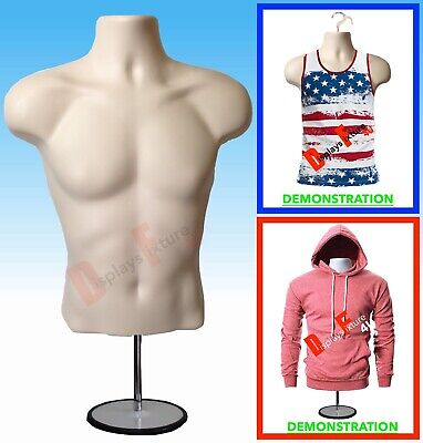 New Male Mannequin Form Hook Standtorso Men Display Manikin T-shirt - Flesh