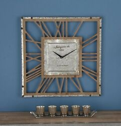 Large Decorative Square Modern Industrial Rustic Metal Wood Wall Clock Art Decor