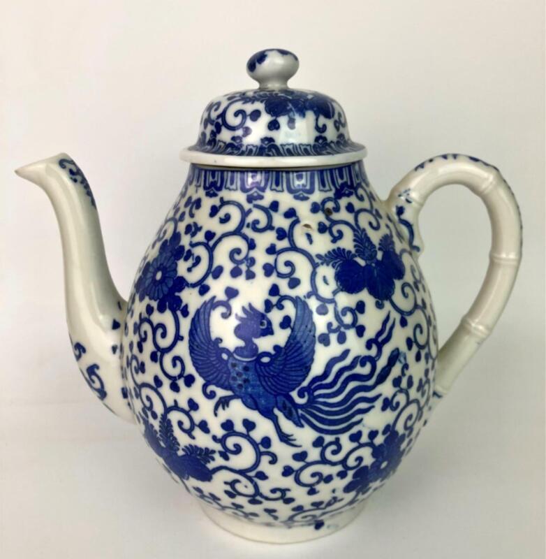 Vintage Phoenix Blue White Porcelain Tea Coffee Pot Bamboo Handle Made in Japan