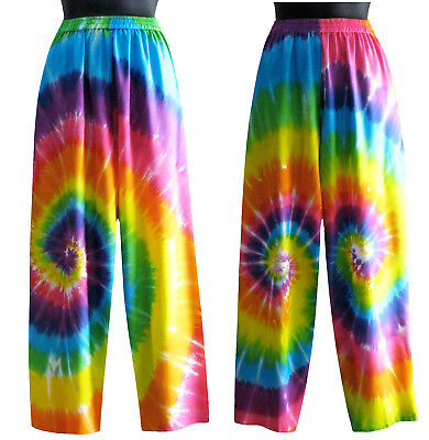 Rainbow Tie Dye Lounge Pants Pockets Multi Color Summer Beach NEW Womens S M L (Beach Lounge Pants)