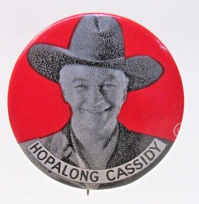 1950's HOPALONG CASSIDY Cowboy rodeo RED background pinback button ^