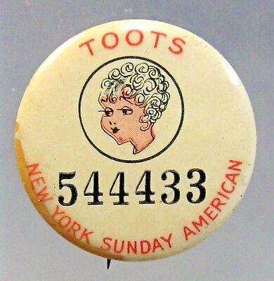 1930's Jimmy Murphy's TOOTS N.Y. Sunday American comic pinback button ^
