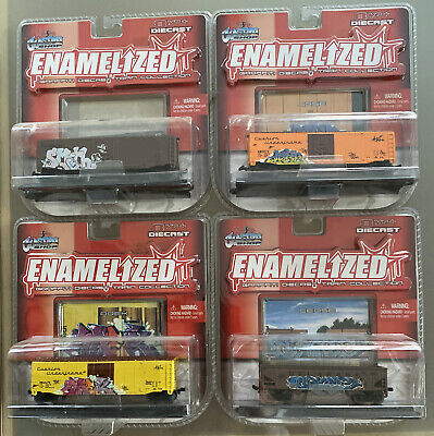 Enamelized Graffiti Diecast Train Collection Maisto Custom Shop Lot of Four