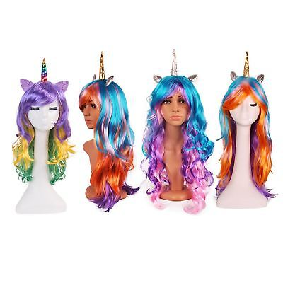 Halloween My Little Pony Long Curls Wig Kids Unicorn Cartoon Costume Multi - Childrens Wigs Halloween