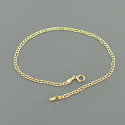 10K YELLOW GOLD 2.1MM WIDE FANCY FIGARO LINK 7.5 INCH BRACELET