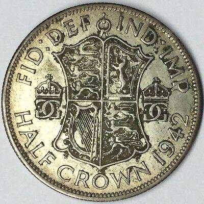 1942 British Half Crown Silver XF+ Uncertified #