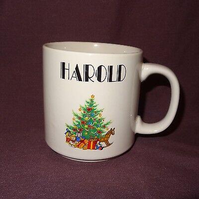 VTG Harold Christmas Tree Toys Rocking Horse Coffee Mug 11 oz Cup Ceramic Papel