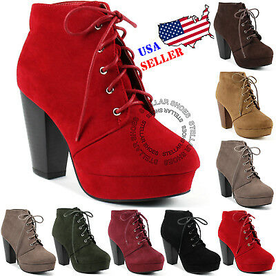 NEW Women's Fashion Comfort Stacked Chunky Heel Lace Up Ankle Booties Boots Block Heel Ankle Boots